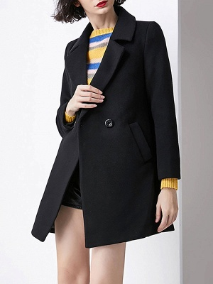 Work Buttoned Lapel Long Sleeve Pockets Coat_2
