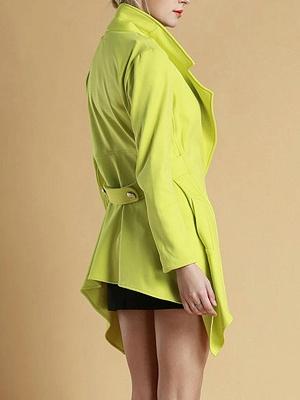 Green Asymmetrical Lapel Buttoned Paneled Coat_3