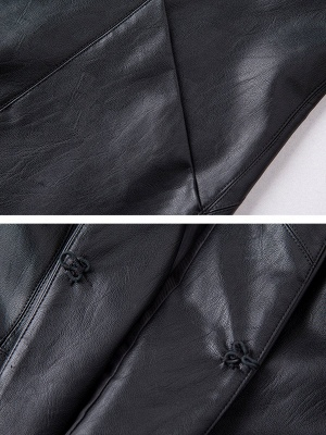 Black Long Sleeve Buttoned Casual Leather Solid Coat_6