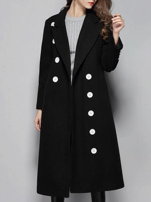 Black Buttoned Lapel High Low Slit Coat_1