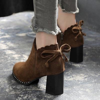 Suede Bowknot Zipper Boots_7