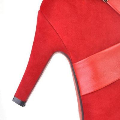 Stiletto Heel Zipper Suede Lace-up Cone Heel Round Toe Boots_19