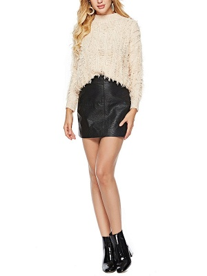 Long Sleeve Casual Geometric Sweater_8