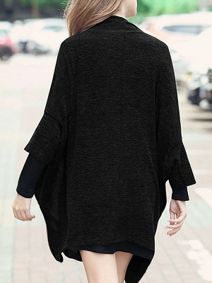 Casual Shift Batwing Pockets Coat_6