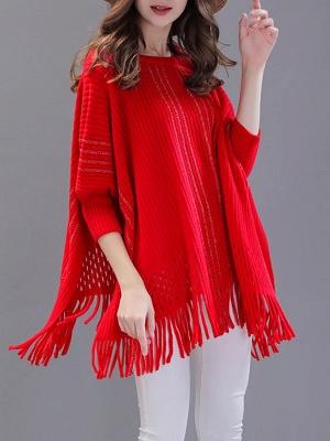 Shift Wool Batwing Casual Geometric Sweater_2