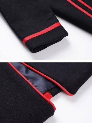 Navy Blue Long Sleeve Cocoon Casual Lapel Coat_7