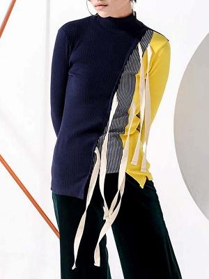 Multicolor Stand Collar Paneled Statement Sheath Sweater_7