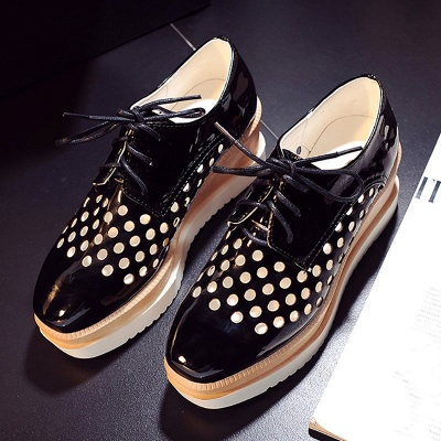 Hollow-out Lace-up Wedge Creepers_12
