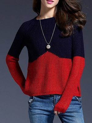 Long Sleeve Bateau/boat neck Casual Ribbed Sweater_1