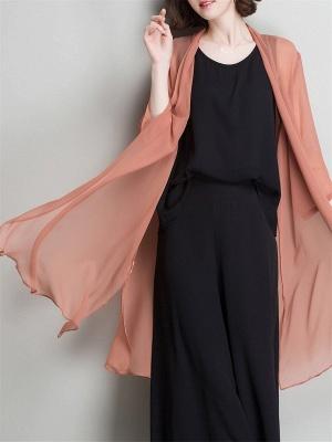 Solid Casual 3/4 Sleeve Shawl Collar Slit Chiffon Coat_1