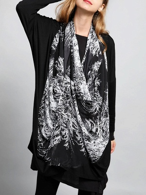 Casual Abstract Long Sleeve Shift Printed Coat_9
