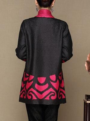 Rose Shawl Collar Long Sleeve Asymmetrical Crinkled Color-block Coat_3