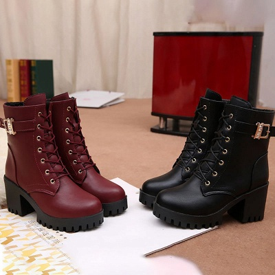 Lace-up Chunky Heel Round Toe Buckle Elegant Boots_7