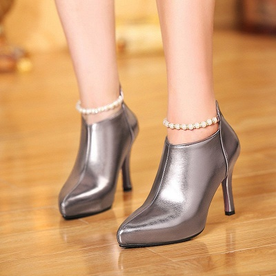 Silver Zipper Daily Elegant Stiletto Heel Pointed Toe Boots_8