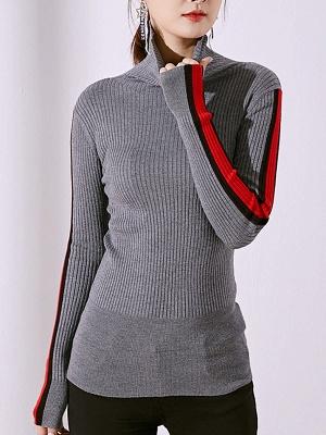 Solid Casual Sheath Long Sleeve Sweater_7