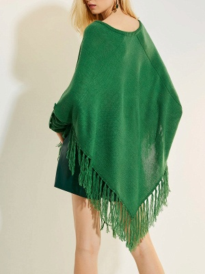 Green V neck Batwing Casual Sweater_3
