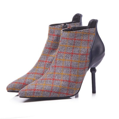 Summer Stiletto Heel Zipper Daily Pointed Toe Boots_3