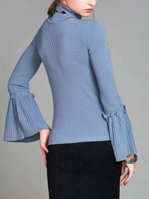 Turtle Neck Casual Bell Sleeve Pleated Sweater_4