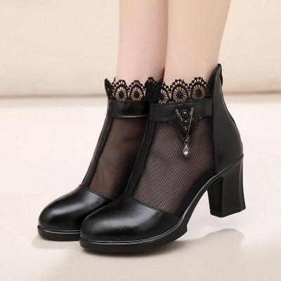 Chunky Heel Zipper Round Toe Elegant PU Boots_1