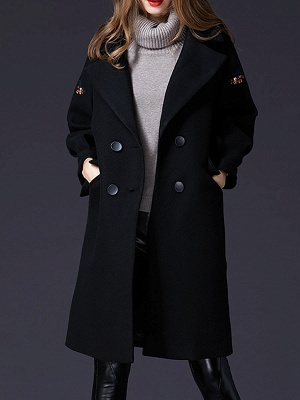Black Lapel Balloon Sleeve Shift Buttoned Animal Embroidered Coat_1