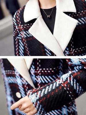Black Color-block Long Sleeve Shawl Collar Coat_5