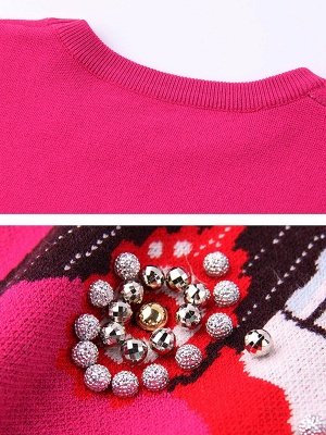 Rose Long Sleeve Beaded Crew Neck Shift Sweater_5