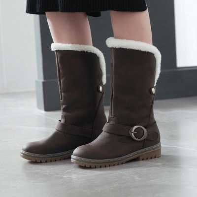 Women's Boots Round Toe Black Low Heel Boots_5