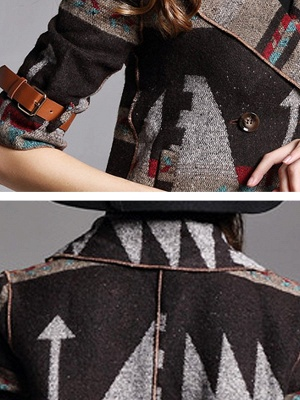 Khaki 3/4 Sleeve V neck Cotton Buttoned Coat_6