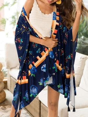 Royal blue Floral Shawl Collar Asymmetric Long Sleeve Coat_4