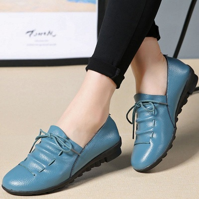 Casual Round Toe Lace-up Flat Heel Loafers_2