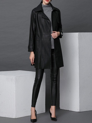 Black Leather Solid Casual Long Sleeve Coat_5
