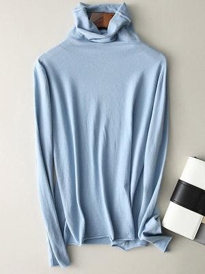 Casual Sheath Turtleneck Long Sleeve Sweater_6