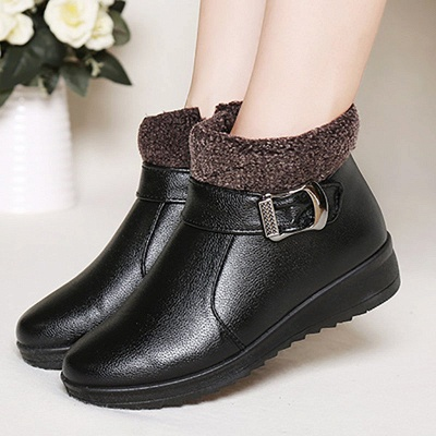 Wedge Heel Daily Zipper Round Toe Buckle Boots_3