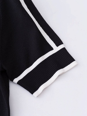 Casual Crew Neck Ice Yarn Knit White Intarsia Sweater_7