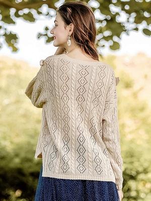 Apricot V neck Long Sleeve Geometric Cutout Sweater_3