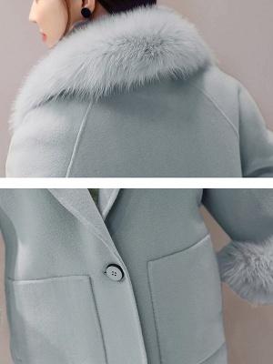 Long Sleeve Shawl Collar Paneled Pockets Slit Fluffy Coat_8