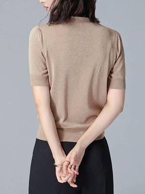 Tie-neck Knitted Casual Short Sleeve Bow Polyester Sweaters_7