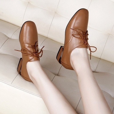 Chunky Heel Lace-up Pointed Toe Oxfords_8