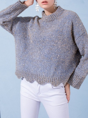 Gray Long Sleeve Casual Corduroy Stand Collar Sweater_1