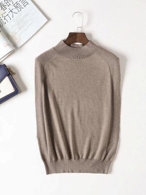 Khaki Solid Turtleneck Casual Sleeveless Shift Sweater_7