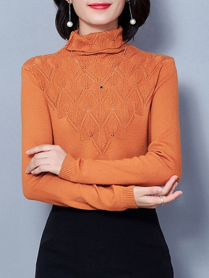 Sheath Turtleneck Long Sleeve Casual Embossed Sweater_3