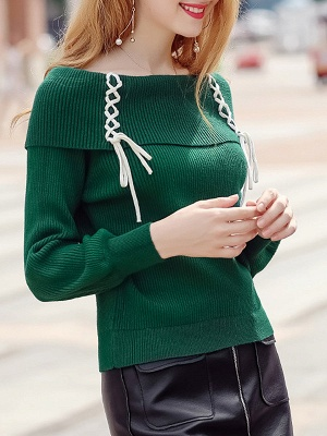Solid Long Sleeve Casual Shift Sweater_5