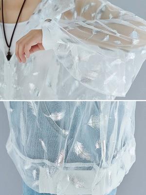 Chiffon Long Sleeve See-through Look Printed Casual Coat_7