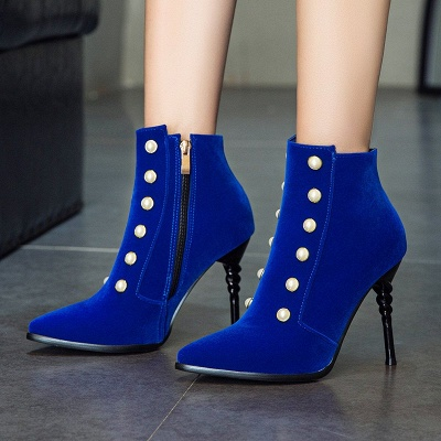 Suede Daily Stiletto Heel Pointed Toe Zipper Boots_4