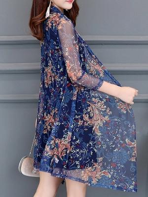 3/4 Sleeve Casual Printed Floral Chiffon Coat_4