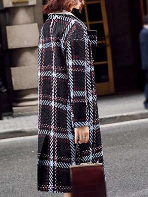 Black Color-block Long Sleeve Shawl Collar Coat_3