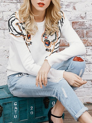 Long Sleeve Embroidered Crew Neck Casual Sweater_6