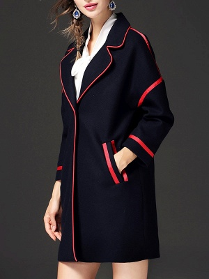 Navy Blue Long Sleeve Cocoon Casual Lapel Coat_4