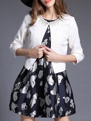 White Beaded 3/4 Sleeve Summer Solid Coat_1