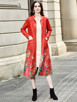 Long Sleeve Stand Collar Floral Printed Pockets Coat_7